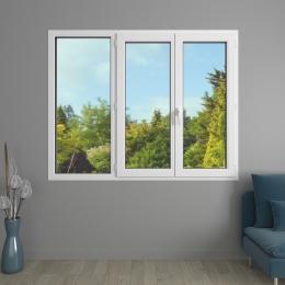 Fenêtre 3 vantaux PVC avec volets roulants monoblocs